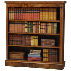 Fine Victorian Open Bookcase in Figured Walnut