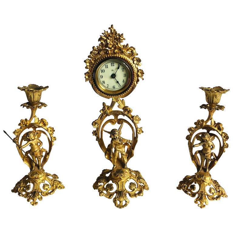 Fine Victorian Ornate Gilded Clock Set For Sale