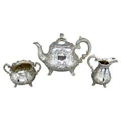 Fine Victorian Rococo Style 3-Piece Tea Service, William Hunter, London 1857