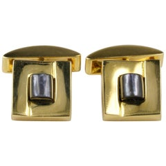 Fine Vintage 18 Karat Solid Gold Carved Mother of Pearl Gent Cuff Links