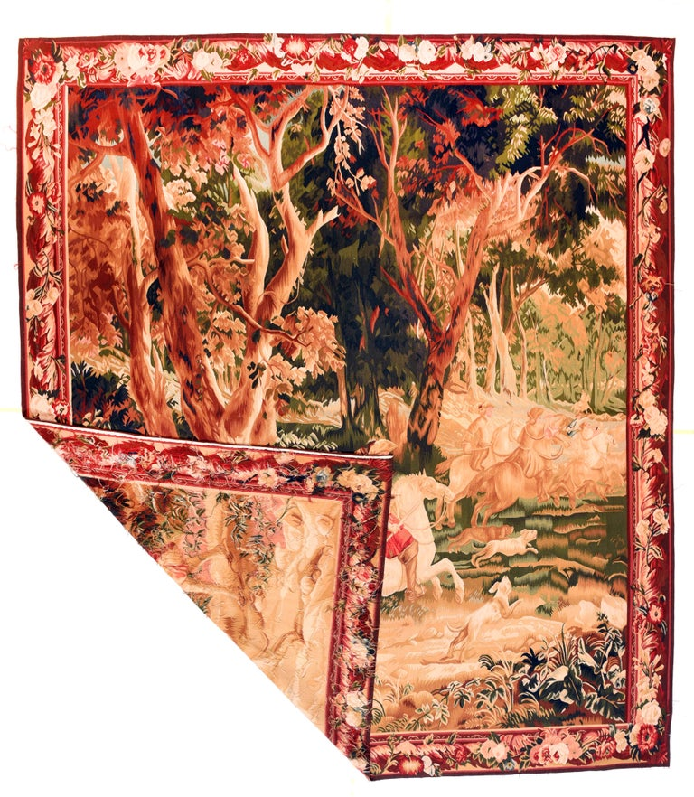 Other Fine Vintage Belgian Pictorial Tapestry, Hand Knotted, circa 20th Century For Sale