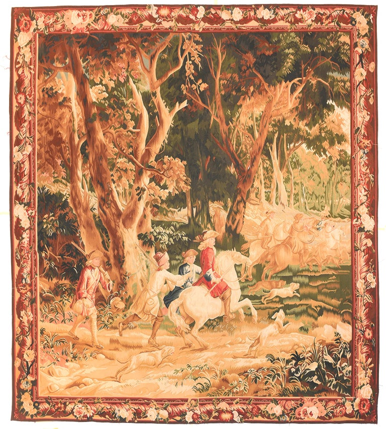 Hand-Knotted Fine Vintage Belgian Pictorial Tapestry, Hand Knotted, circa 20th Century For Sale
