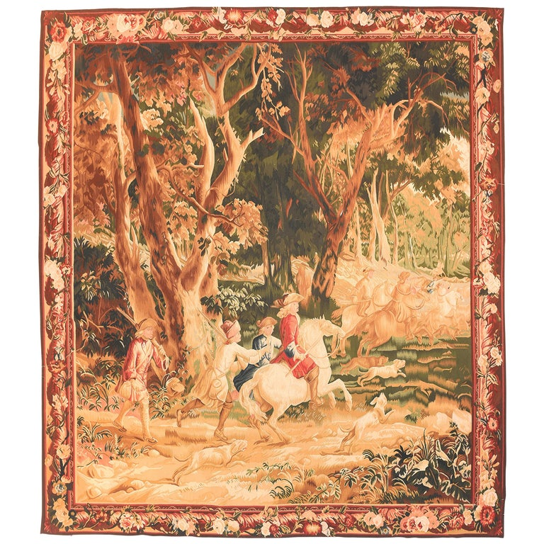 Fine Vintage Belgian Pictorial Tapestry, Hand Knotted, circa 20th Century For Sale