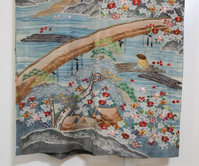 Fine Vintage Blue Kuro Tomesode Silk Japanese Kimono For Sale 4
