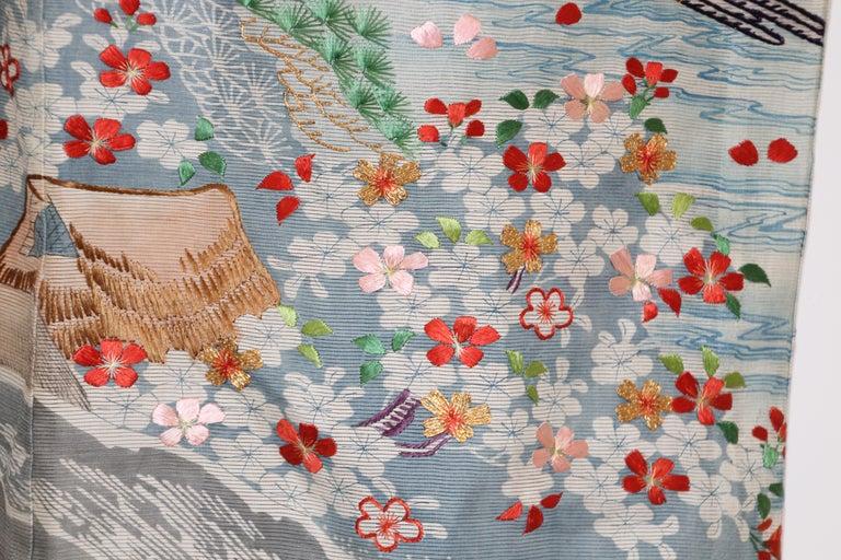 Fine Vintage Blue Kuro Tomesode Silk Japanese Kimono For Sale 5