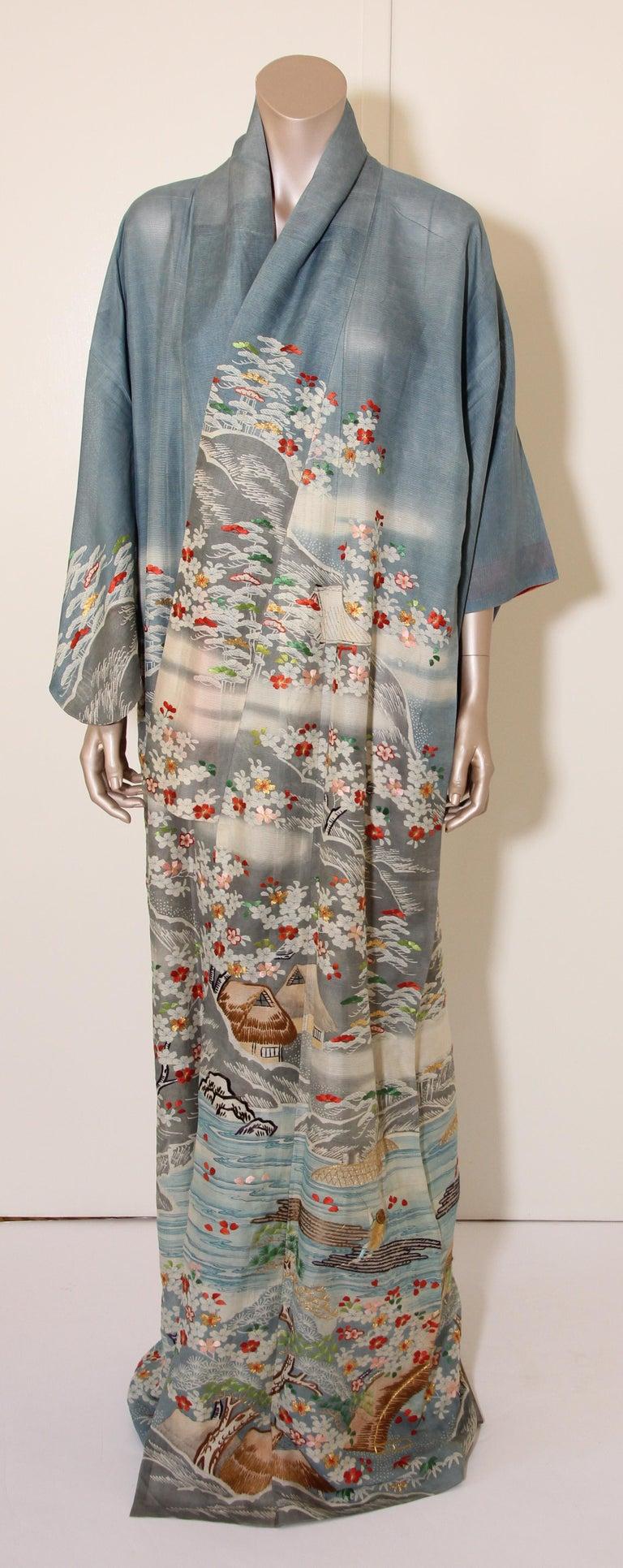 Fine Vintage Blue Kuro Tomesode Silk Japanese Kimono For Sale 6