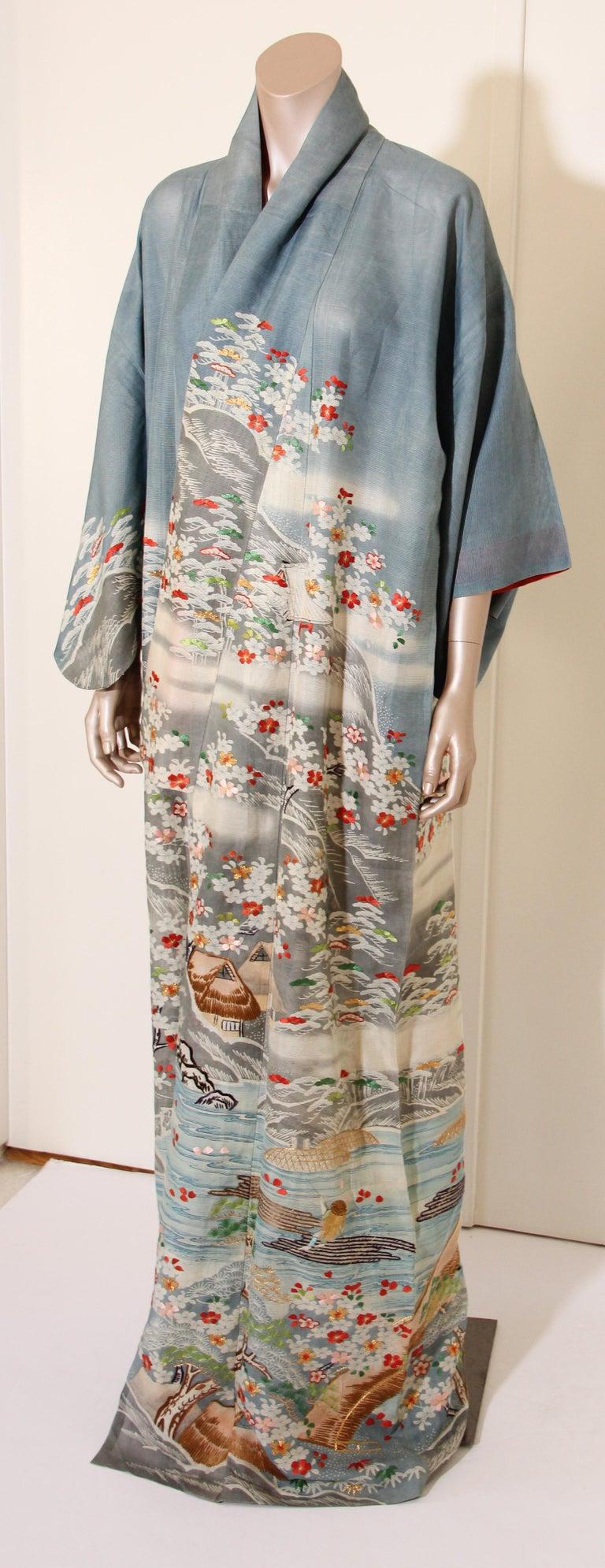 Fine Vintage Blue Kuro Tomesode Silk Japanese Kimono For Sale 7