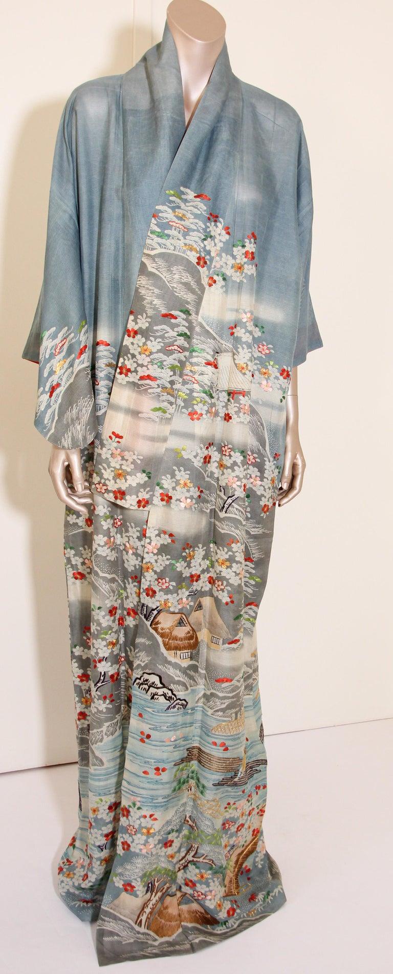 Fine Vintage Blue Kuro Tomesode Silk Japanese Kimono For Sale 8