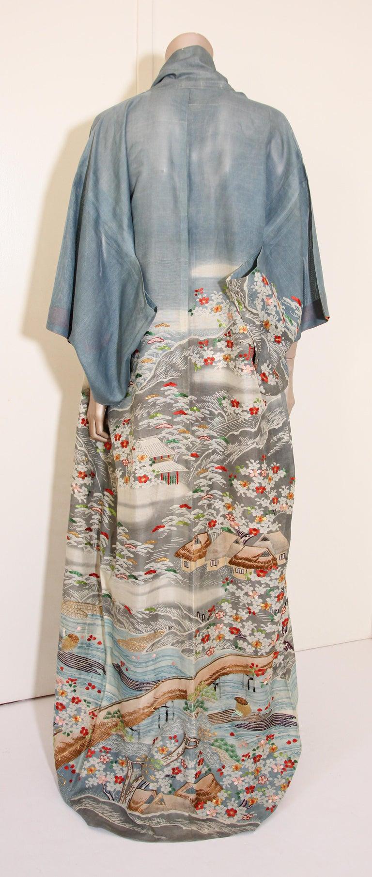 Fine Vintage Blue Kuro Tomesode Silk Japanese Kimono For Sale 9