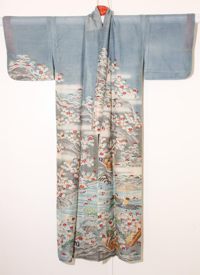 Fine Vintage Blue Kuro Tomesode Silk Japanese Kimono For Sale 10