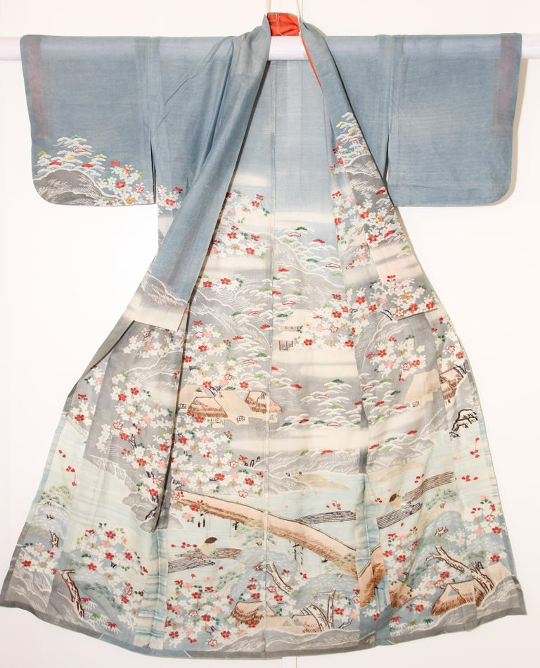 Fine Vintage Blue Kuro Tomesode Silk Japanese Kimono For Sale 11