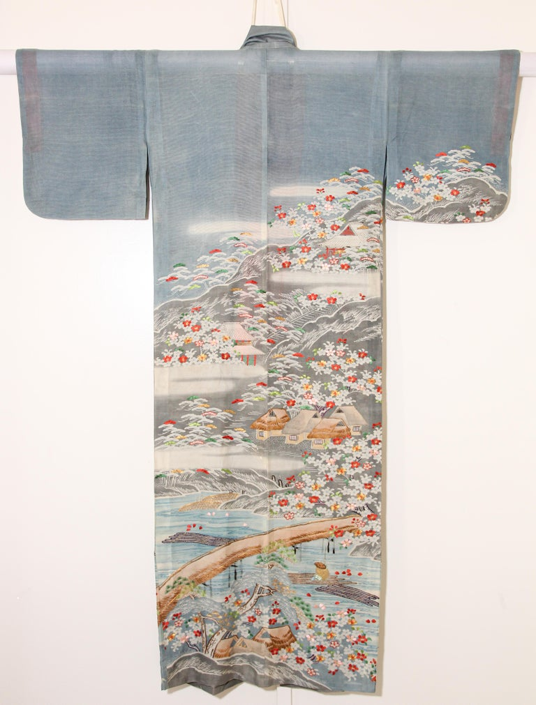 Fine Vintage Blue Kuro Tomesode Silk Japanese Kimono For Sale 12