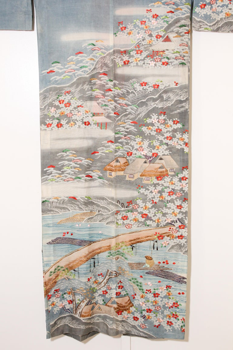 Fine Vintage Blue Kuro Tomesode Silk Japanese Kimono For Sale 13