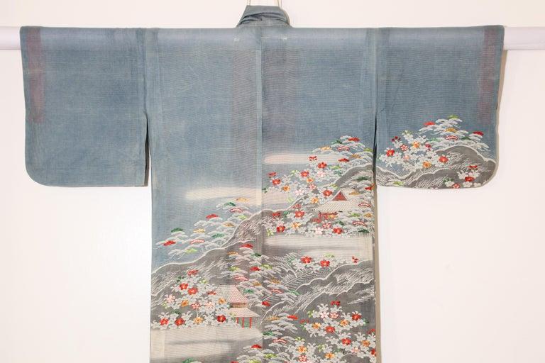 Fine Vintage Blue Kuro Tomesode Silk Japanese Kimono For Sale 14
