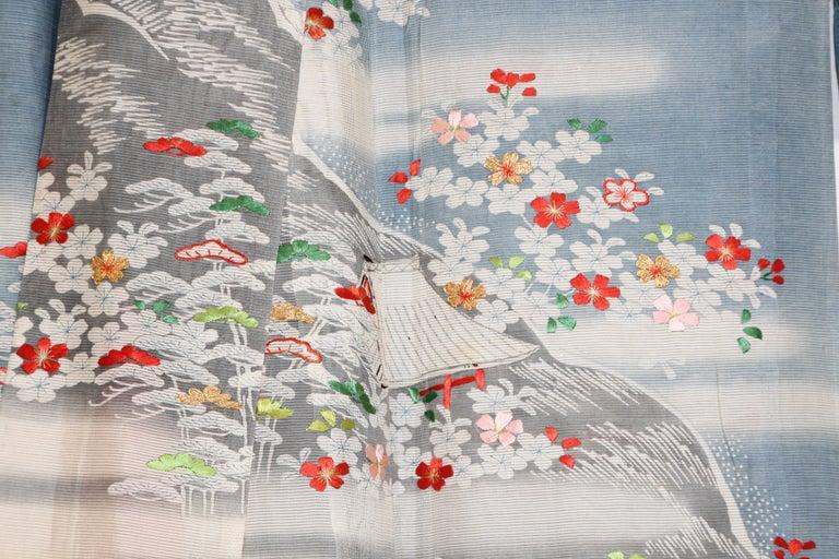 Japonisme Fine Vintage Blue Kuro Tomesode Silk Japanese Kimono For Sale