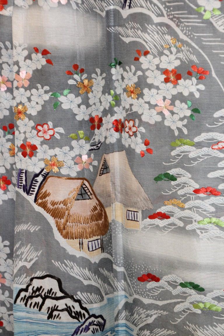Hand-Crafted Fine Vintage Blue Kuro Tomesode Silk Japanese Kimono For Sale