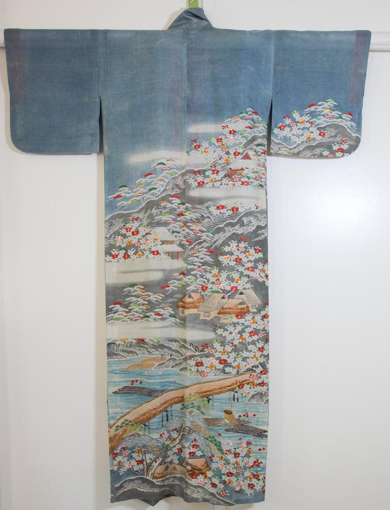 Fine Vintage Blue Kuro Tomesode Silk Japanese Kimono For Sale 1