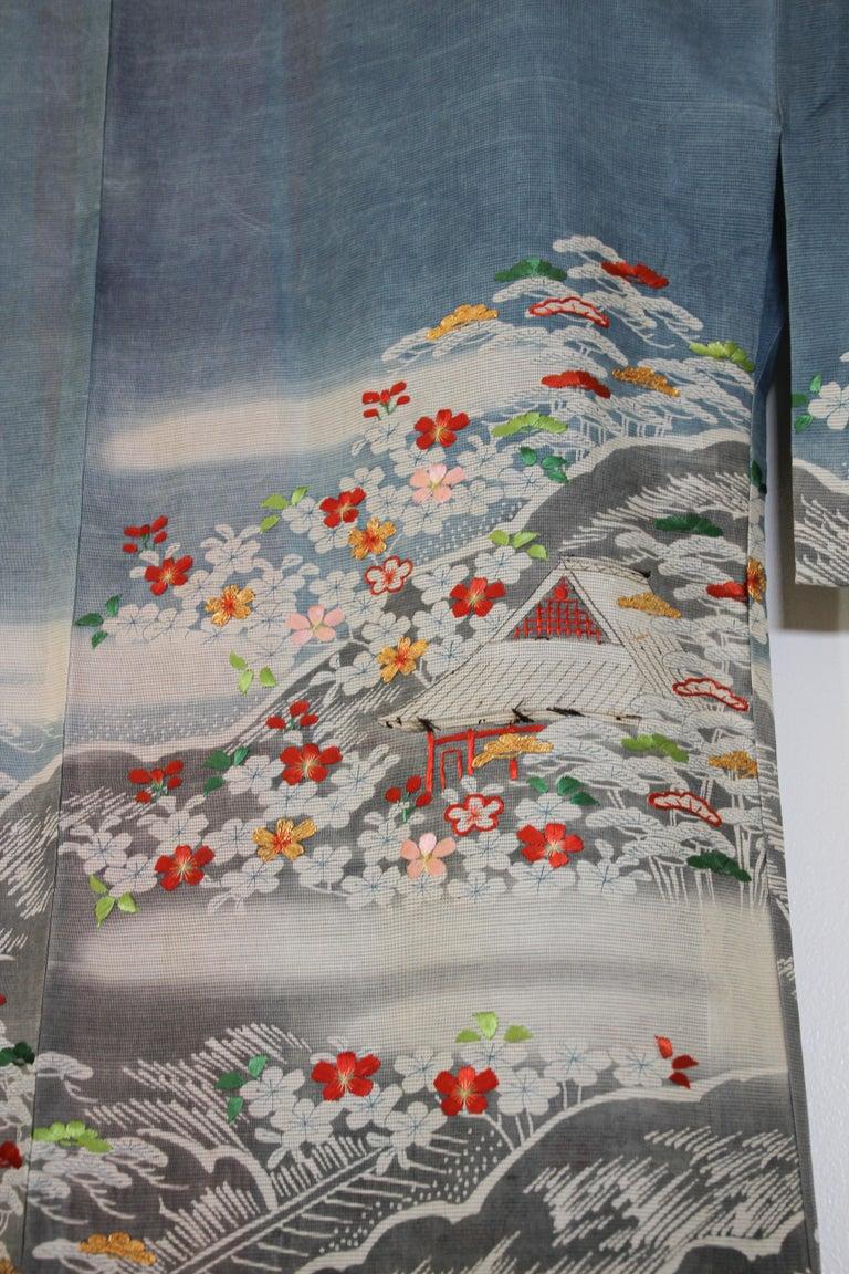 Fine Vintage Blue Kuro Tomesode Silk Japanese Kimono For Sale 2