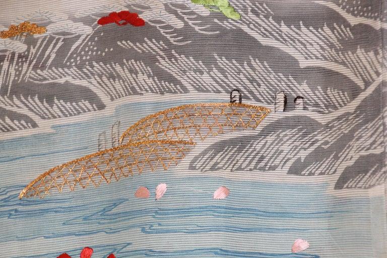 Fine Vintage Blue Kuro Tomesode Silk Japanese Kimono For Sale 3
