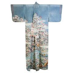 Fine Vintage Blue Kuro Tomesode Silk Japanese Kimono