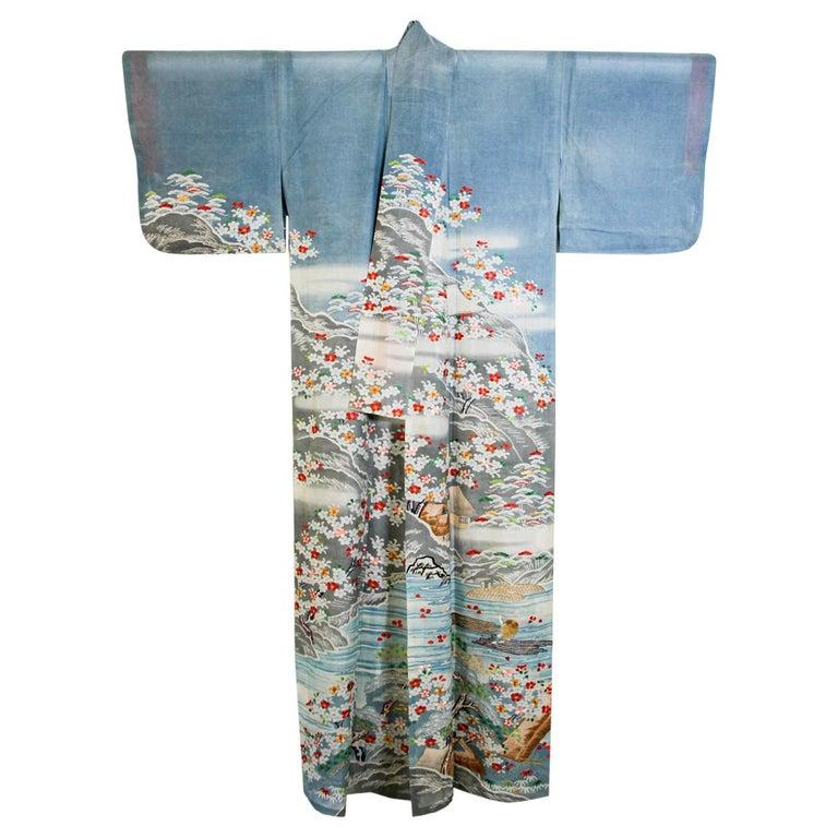 Fine Vintage Blue Kuro Tomesode Silk Japanese Kimono For Sale