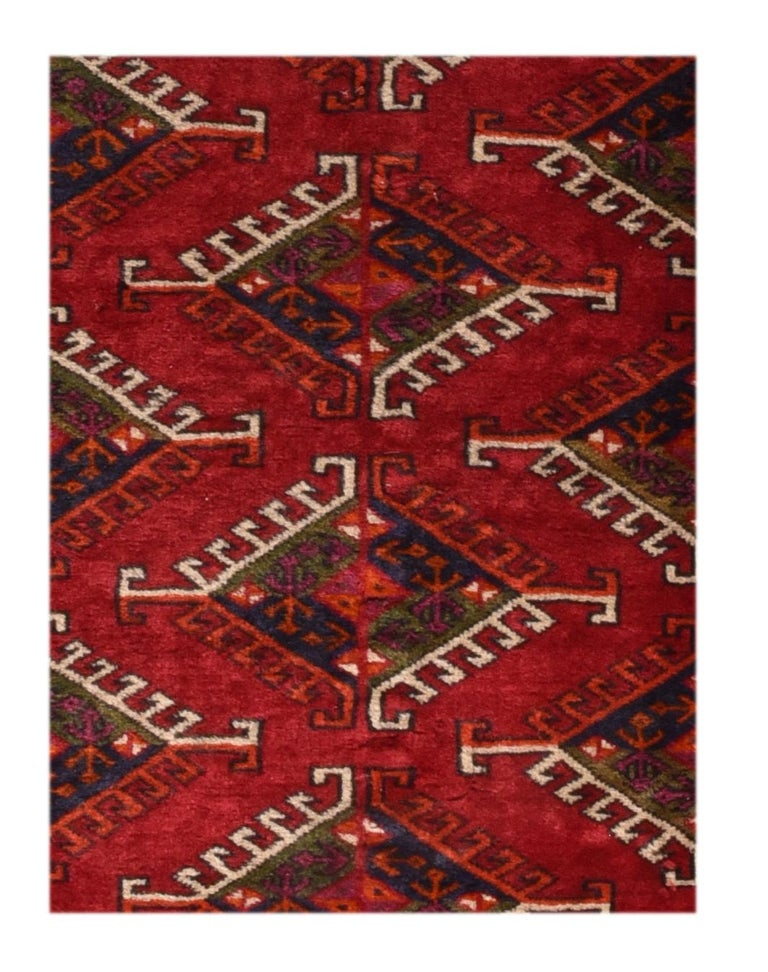Fine vintage Bokhara Russian rug, hand knotted, circa 1940s  Design: Tribal  Bukhara rug, Bukhara also spelled Bokhara, Uzbek Bukharo, name erroneously given to floorcoverings made by various Turkmen tribes. The city of Bukhara, Uzbekistan,
