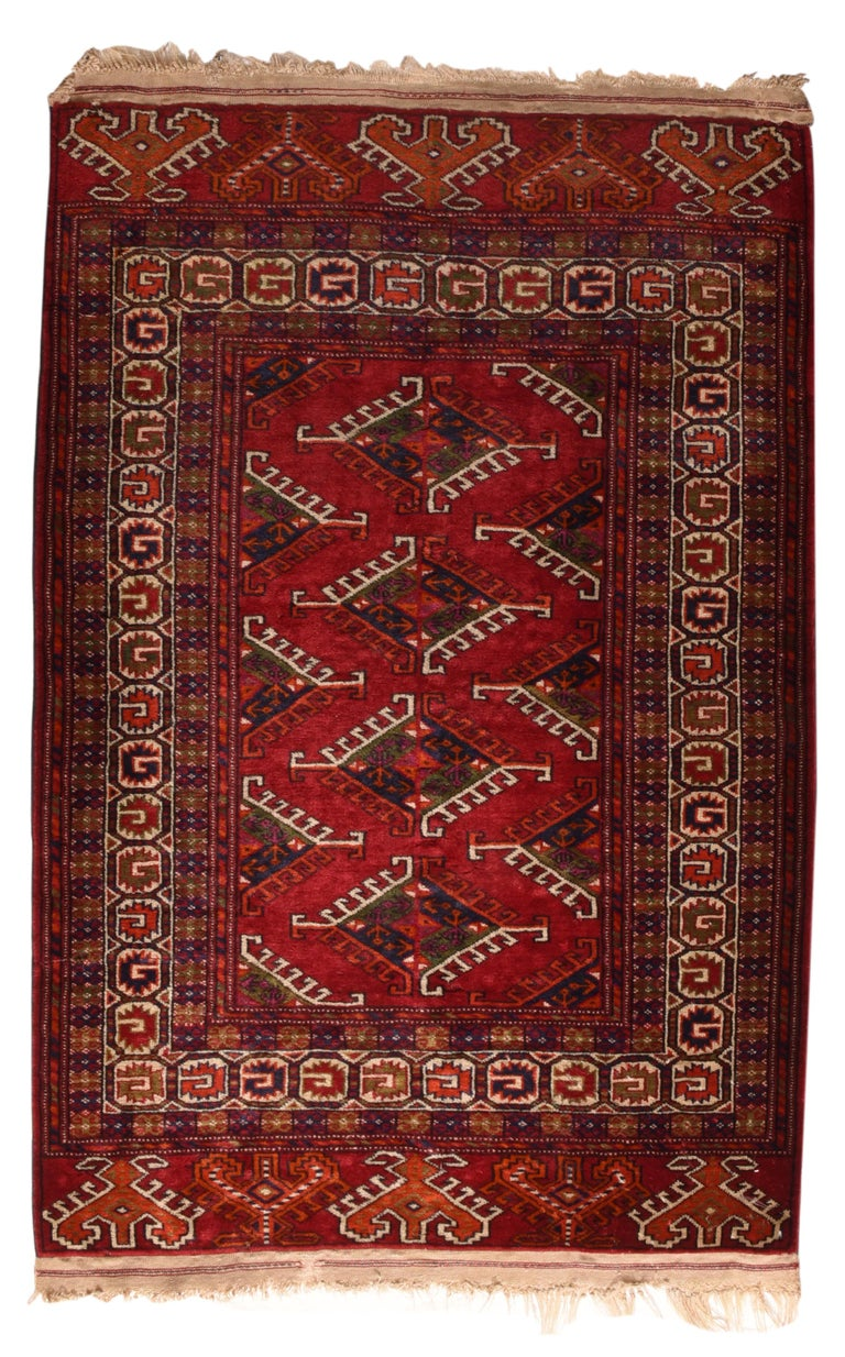 Hand-Knotted Fine Vintage Bokhara Russian Rug, Hand Knotted, circa 1940s For Sale