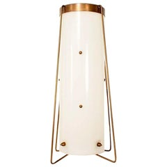 Fine Vintage Brass and Acrylic Cylinder Table Lamp Mid-Century Modern
