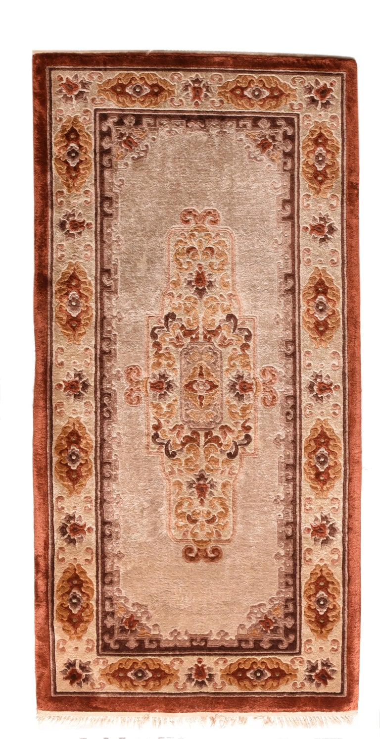 Hand-Knotted Fine Vintage Chinese Peking Rug, Silk on Silk, circa 1950s For Sale