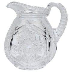 Fine Vintage Cut Glass Pitcher with a Narrow Body