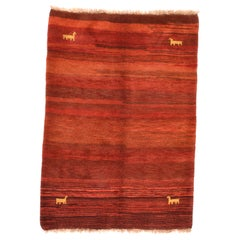 Fine Vintage Gabbeh Persian Rug, Hand Knotted, circa 1950
