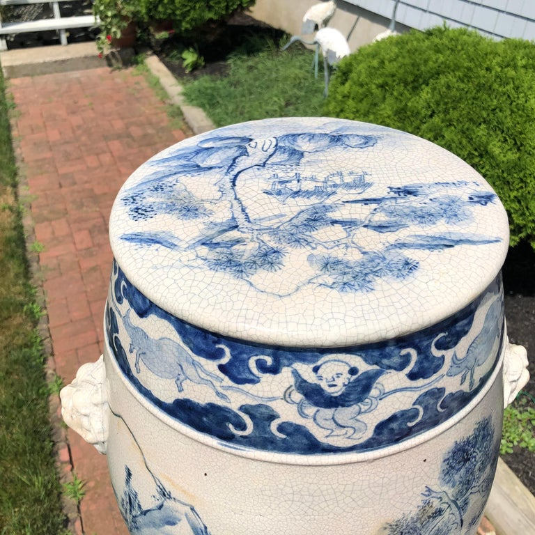 Fine Vintage Hand-Glazed Blue and White Garden Stool Seat In Good Condition For Sale In Shelburne, VT