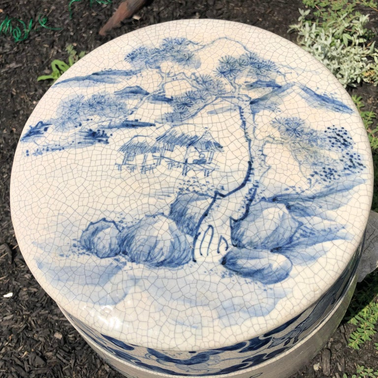 20th Century Fine Vintage Hand-Glazed Blue and White Garden Stool Seat For Sale