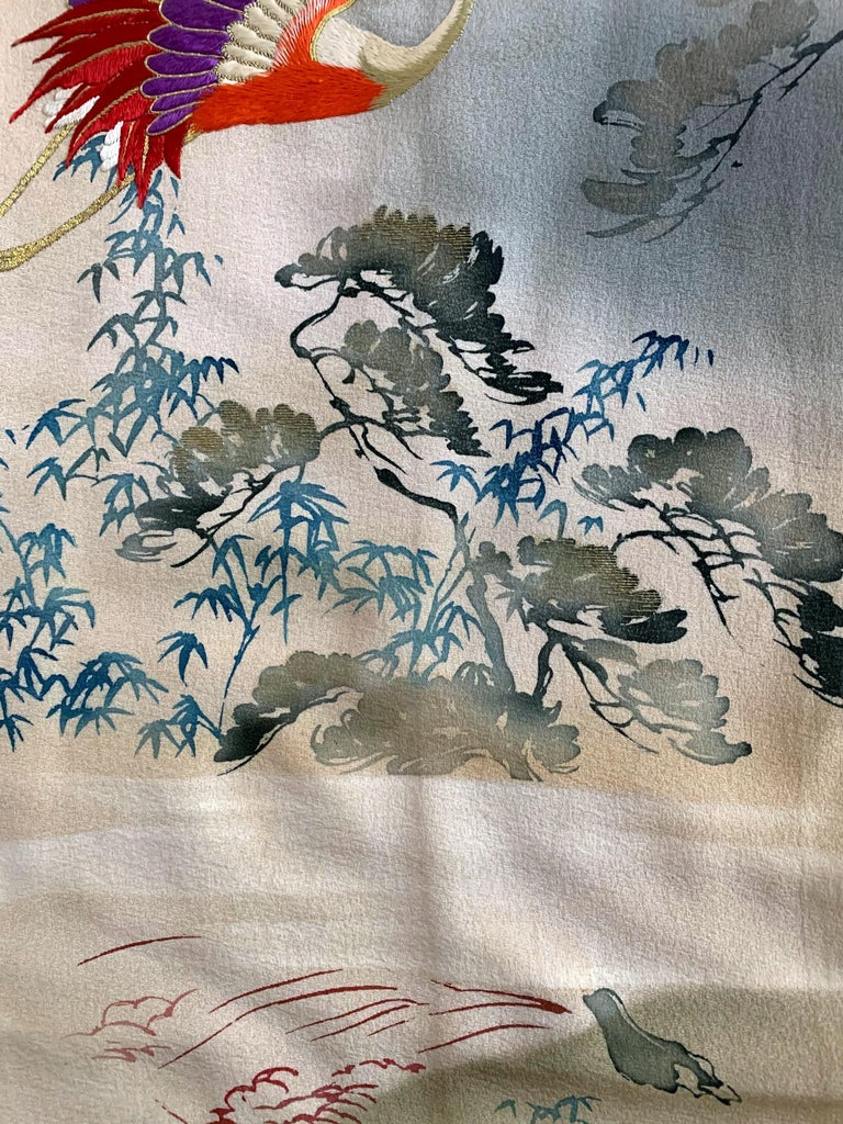 Fine Vintage Japanese Furisode Kimono with Yuzen Dyes and Embroidery For Sale 5