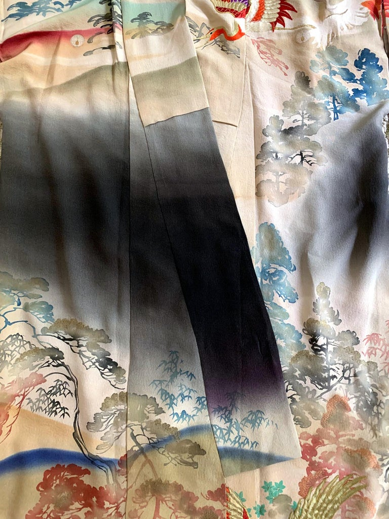 Fine Vintage Japanese Furisode Kimono with Yuzen Dyes and Embroidery For Sale 6