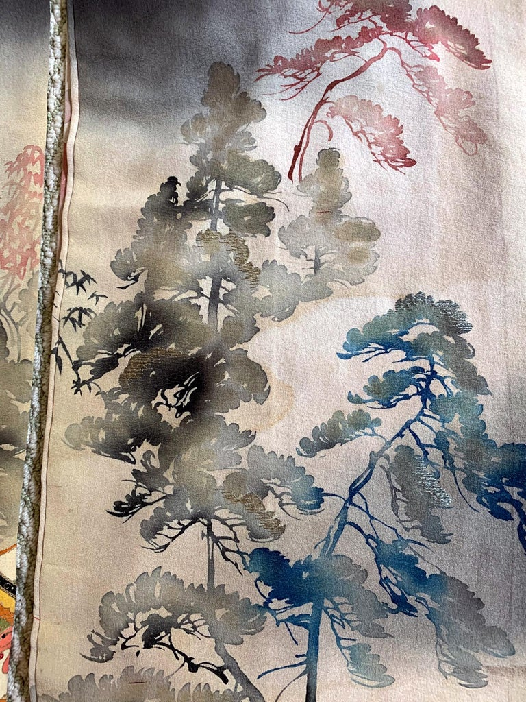 Fine Vintage Japanese Furisode Kimono with Yuzen Dyes and Embroidery For Sale 7