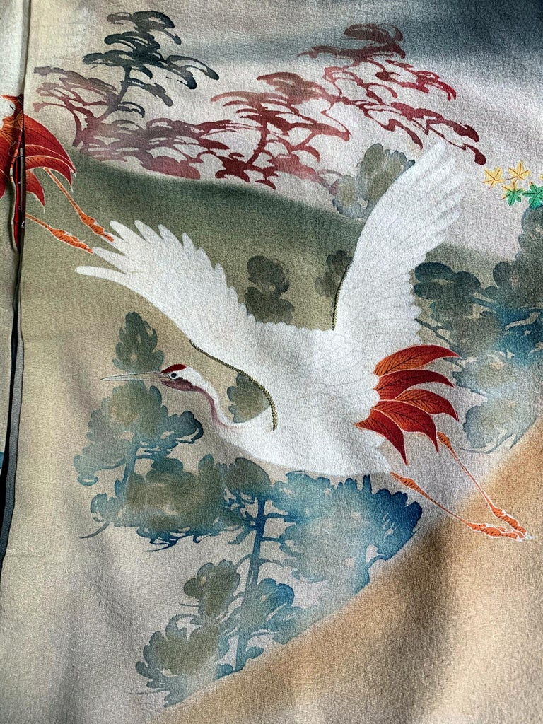 Fine Vintage Japanese Furisode Kimono with Yuzen Dyes and Embroidery For Sale 8