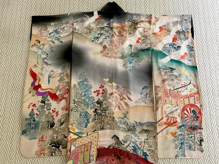 Japonisme Fine Vintage Japanese Furisode Kimono with Yuzen Dyes and Embroidery For Sale