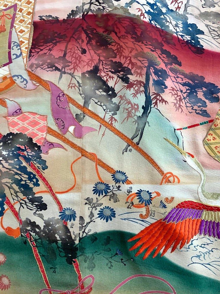 Cotton Fine Vintage Japanese Furisode Kimono with Yuzen Dyes and Embroidery For Sale
