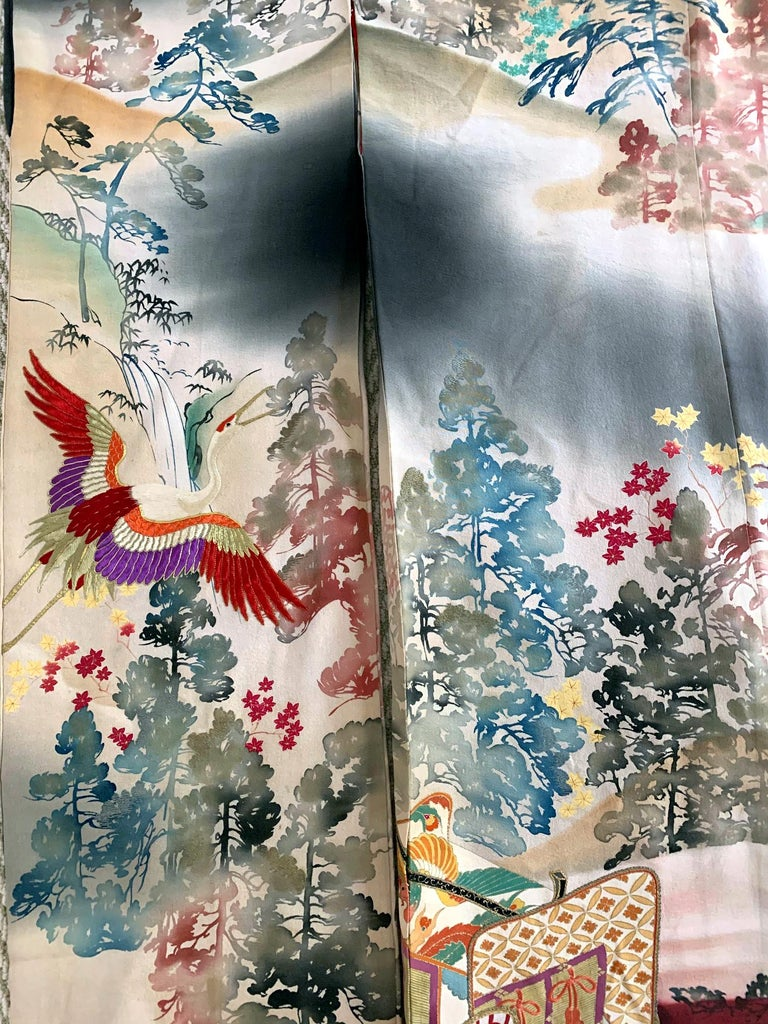 Fine Vintage Japanese Furisode Kimono with Yuzen Dyes and Embroidery For Sale 1