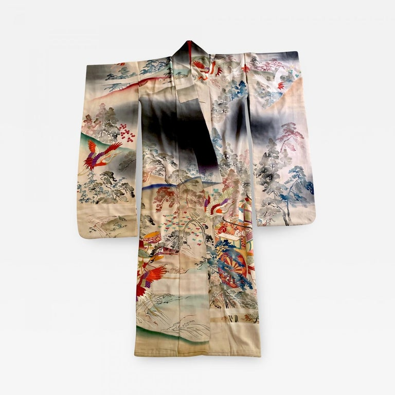 Fine Vintage Japanese Furisode Kimono with Yuzen Dyes and Embroidery For Sale 3