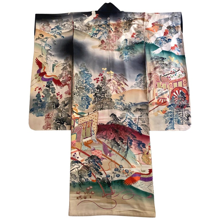 Fine Vintage Japanese Furisode Kimono with Yuzen Dyes and Embroidery For Sale