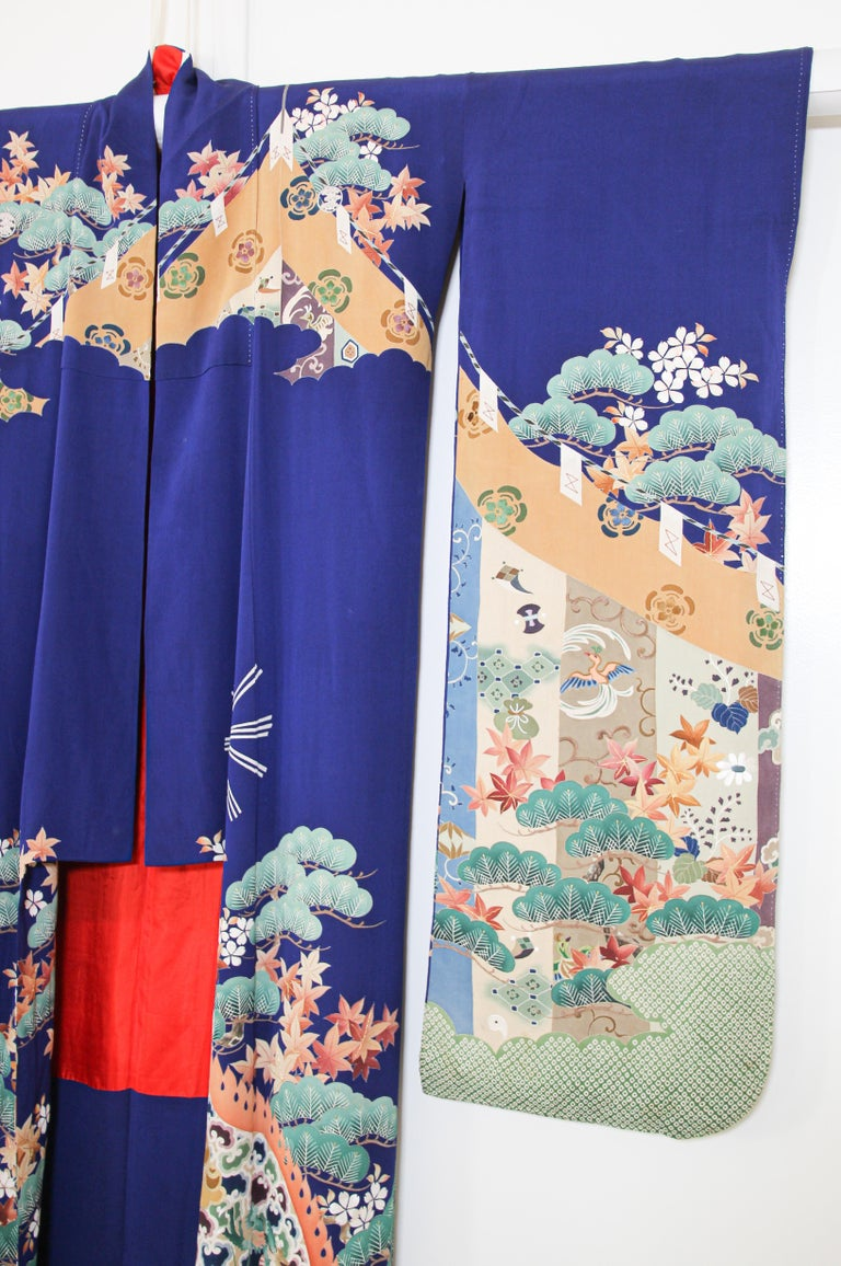 Fine vintage Japanese royal blue silk Kimono with Yuzen Design.