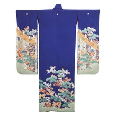 Fine Vintage Japanese Royal Blue Silk Kimono with Yuzen Design