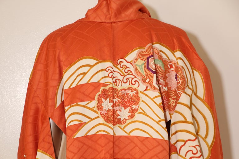 Hand-Crafted Fine Vintage Japanese Silk Furisode Kimono For Sale