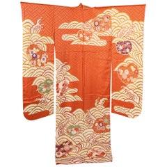 Fine Vintage Japanese Silk Furisode Kimono