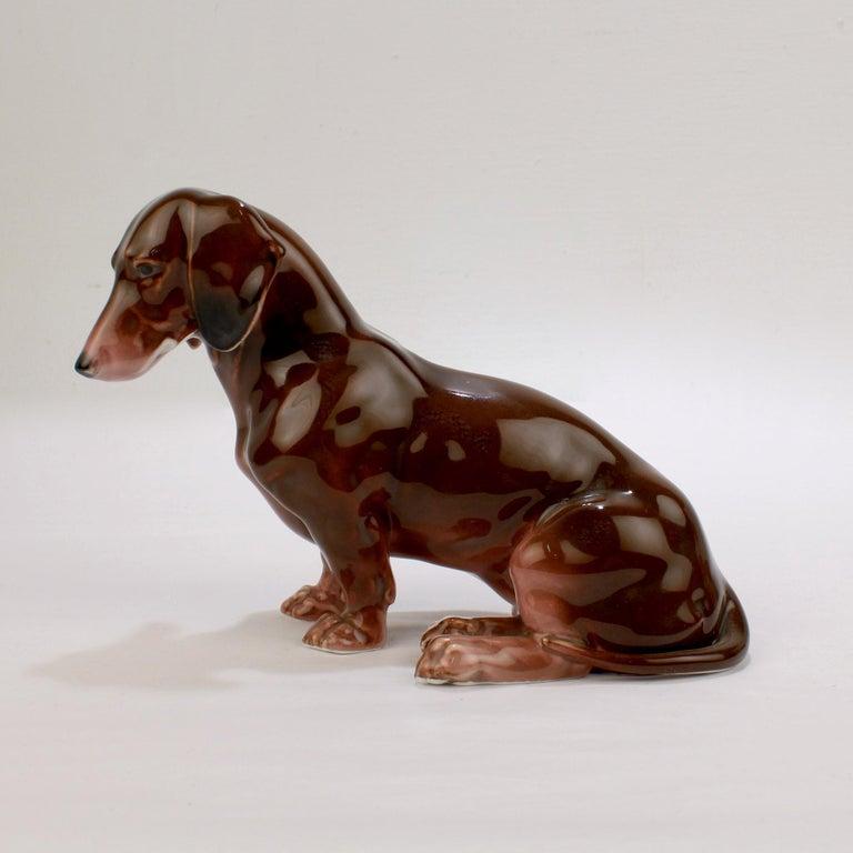 German Fine Vintage Karl Ens Porcelain Sitting Dachshund Dog Figurine