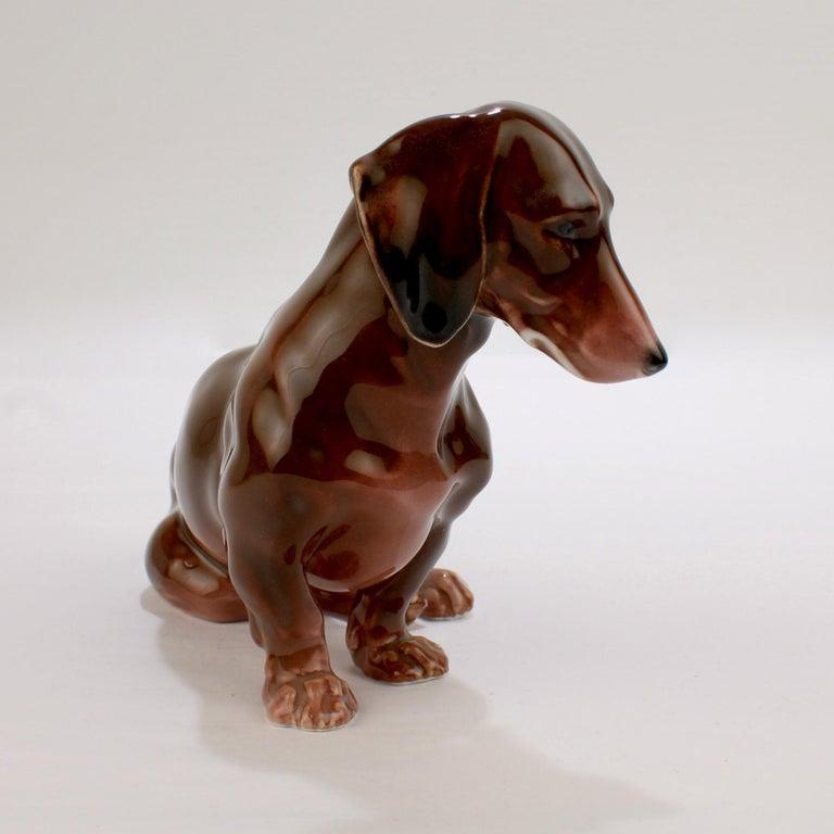 Fine Vintage Karl Ens Porcelain Sitting Dachshund Dog Figurine 1