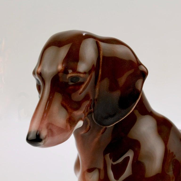 Fine Vintage Karl Ens Porcelain Sitting Dachshund Dog Figurine 2