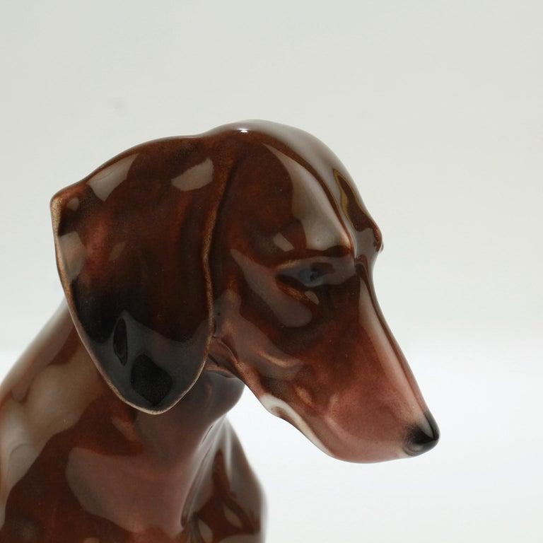 Fine Vintage Karl Ens Porcelain Sitting Dachshund Dog Figurine 3